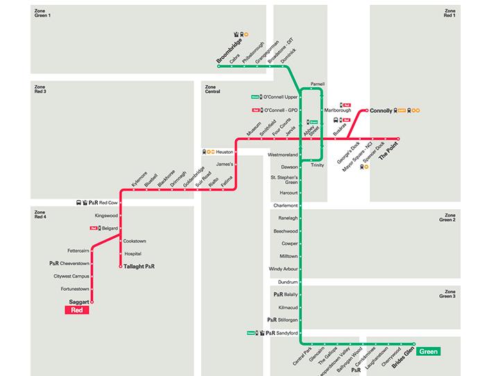LUASの路線図